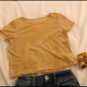 American Eagle Small Lettuce Ribbed Soft Tee